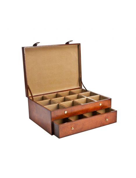 Coffret rangement 24 cravates, Gregor, cuir de buffle Cognac Balmuir Ecrins
