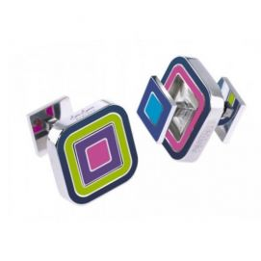 Boutons de manchette, R'versible, rose violet square