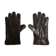 Gant cuir Simon Carter, peau de poney et cuir Nappa noir. Intérieur cachemire et laine