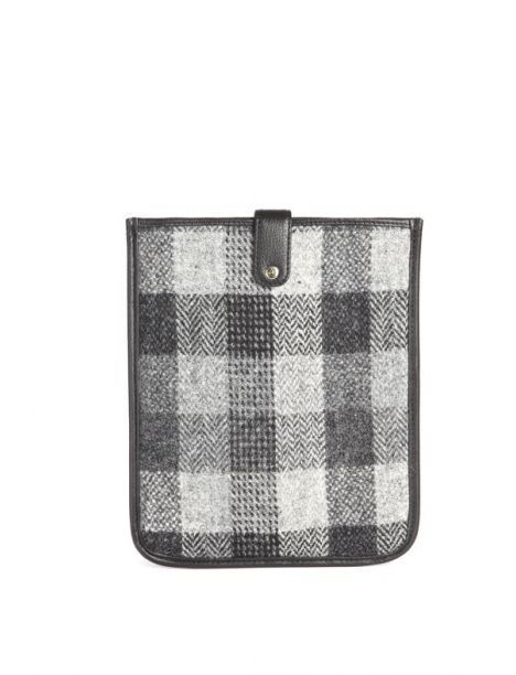 Housse Ipad Tweed Harris gris et cuir noir Simon Carter Etuis Tablettes