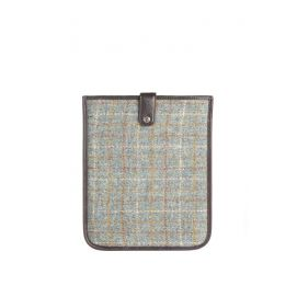 Housse Ipad Tweed Harris bleu et orange, cuir brun