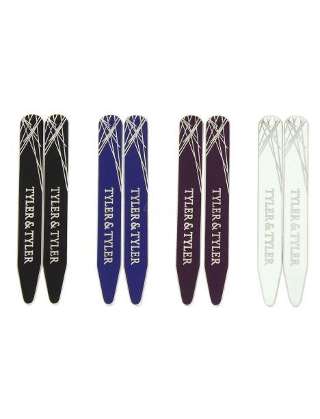 Boutons de manchette, Baleines de col, Diffusion 4 couleurs, 4 paires Tyler & Tyler Baleines de col