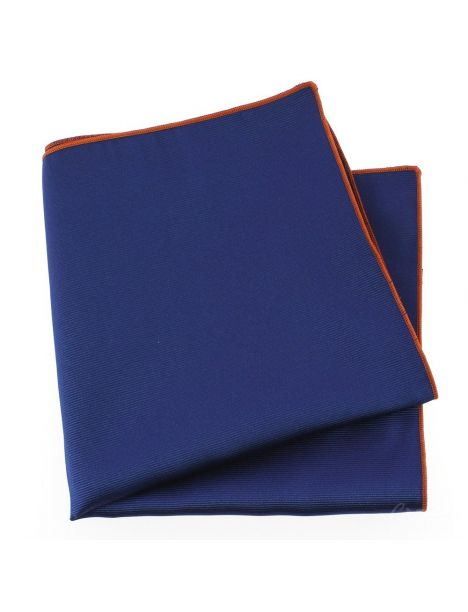 Pochette soie, Bleu roya, ourlet orange