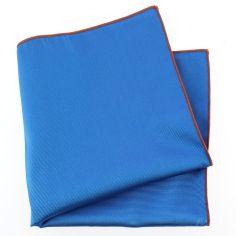 Pochette soie, Bleu Cina, ourlet orange Tony & Paul Pochettes