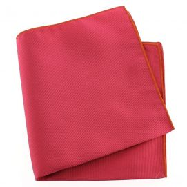 Pochette soie, Rose Ribes, ourlet orange