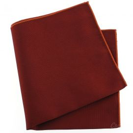 Pochette soie, Rouge Peonia, ourlet orange