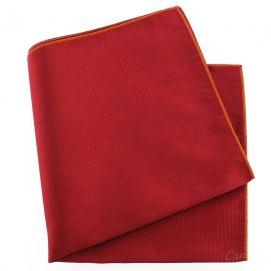 Pochette soie, Rouge Sangue, ourlet orange Tony & Paul Pochettes