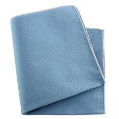Pochette soie, Tevere bleu, ourlet blanc