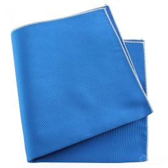 Pochette soie, Bleu Cina, ourlet blanc