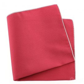 Pochette soie, Rose Ribes, ourlet blanc