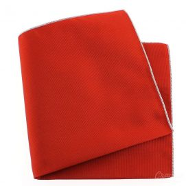 Pochette soie, Rouge Geraneo, ourlet blanc