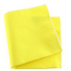 Pochette soie, jaune Citron, ourlet blanc
