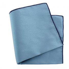 Pochette soie, Tevere bleu, ourlet bleu royal