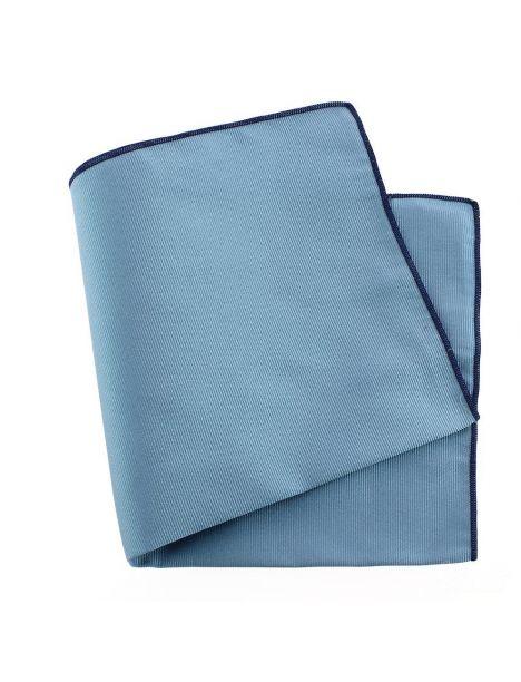 Pochette soie, Tevere bleu, ourlet bleu royal Tony & Paul Pochettes