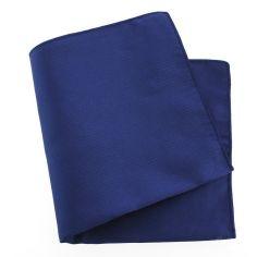 Pochette soie, Bleu royal, ourlet bleu royal