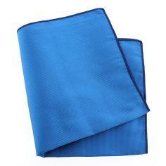 Pochette soie, Bleu Cina, ourlet bleu royal