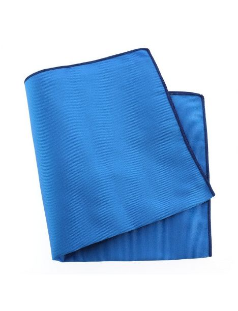 Pochette soie, Bleu Cina, ourlet bleu royal Tony & Paul Pochettes