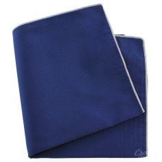 Pochette soie, Bleu royal, ourlet rose crocus
