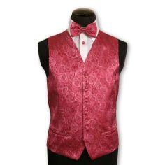 Gilet en soie brodé de roses couleur rose
