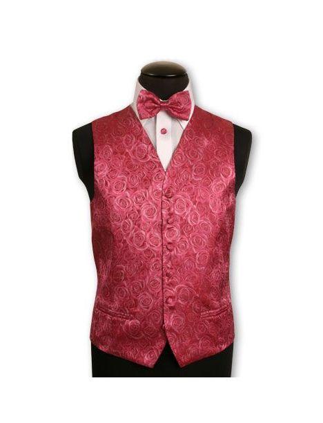 Gilet en soie brodé de roses couleur rose Robert Charles Gilets