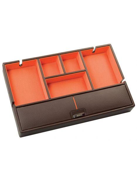 Valet cuir marron, intérieur orange. Dulwich Dulwich Designs Ecrins