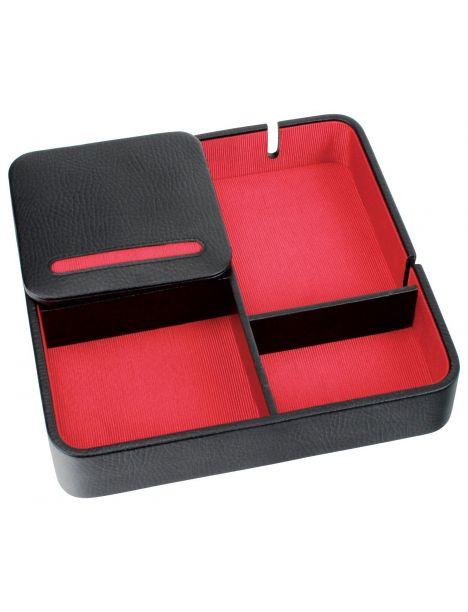 Valet de rangement, Dulwich, cuir doublé rouge Dulwich Designs Ecrins
