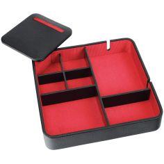 Valet de rangement, Dulwich, cuir doublé rouge