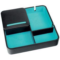 Valet de rangement, Dulwich, cuir doublé turquoise Dulwich Designs Ecrins