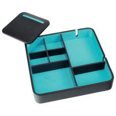 Valet de rangement, Dulwich, cuir doublé turquoise