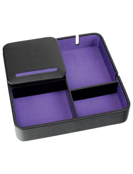 Valet de rangement, Dulwich, cuir doublé violet Dulwich Designs Ecrins