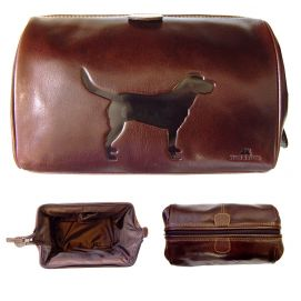 Trousse de toilette en cuir, Tyler and Tyler, marron, LABRADOR