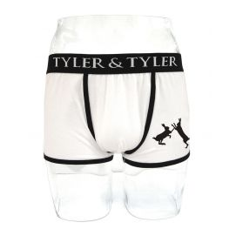 Boxer homme blanc, 2 lièvres noir