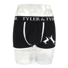 Boxer homme noir, 2 lièvres blanc Tyler & Tyler Boxers Homme