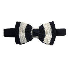 Noeud papillon tricot, Soie, club noir et blanc