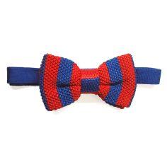 Noeud papillon tricot, Soie, club rouge bleu