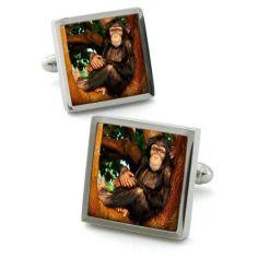 Bouton de manchette Robert Charles chimpanzé