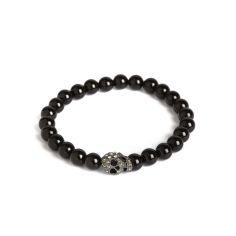 Bracelet Onyx elastique, crâne, Simon Carter
