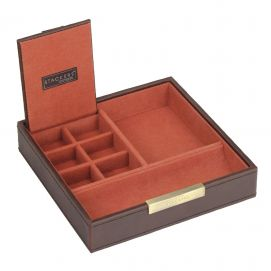 Plateau empilable valet stacker, Module1 Carré marron-orange,