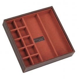 Plateau empilable BDM stacker, Module2 Carré marron-orange,