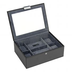 Boite 8 montres stackers empilable, Module1(haut) noir exécutif Stackers UK Ecrins