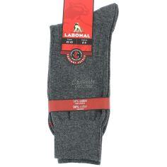 Mi chaussette uni à cotes pur coton, Gris Labonal Chaussettes