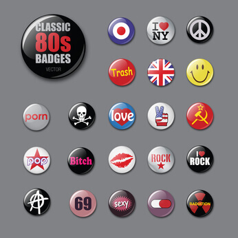 badges mode  des annees 80