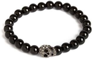 Bracelet Onyx elastique, crâne brillant, Simon Carter