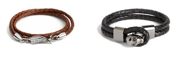 Bracelet cuir tressé doublé noir, tête de mort acier, Simon Carter et bracelet tressé cuir marron aile plaquée simon carter