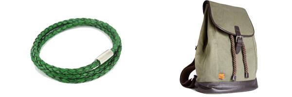 Bracelet tressé Homme Monart, vert et sac a dos Simon Carter kaki