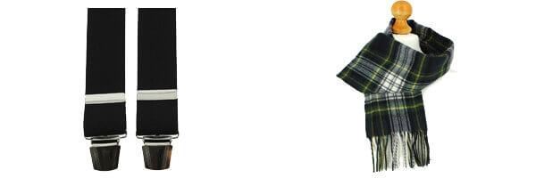 Bretelle 4 clips, noir charbon et echarpe laine à carreaux