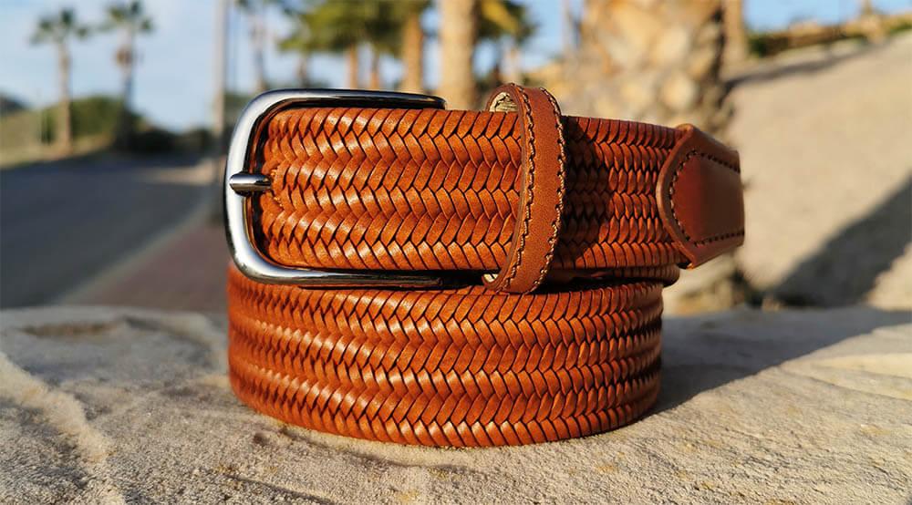 ceinture tressée en cuir pour homme