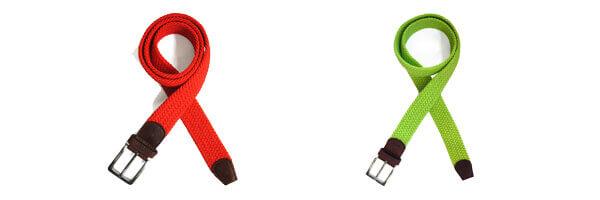 Ceinture T&T, Tressée Rouge et vert lime