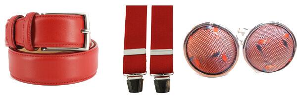 Ceinture cuir de veau, rouge, 35mm, bords surpiqués avec bretelles rouge et boutons de manchette tissus