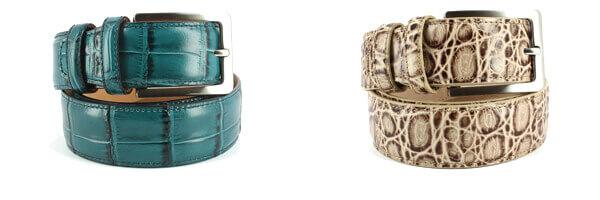 Ceinture cuir, Croco, 35mm, Vert, bords surpiqués et ceinture cuir lezard